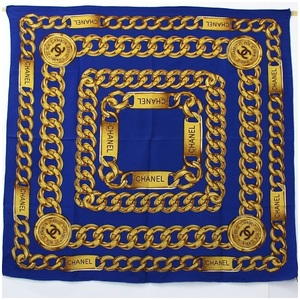 Chanel Silk Scarf Blue Chain Pattern CHANEL