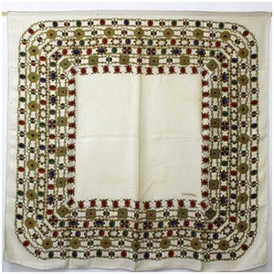 CHANEL silk scarf ivory jewelry pattern