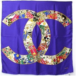 CHANEL silk scarf purple jewelry pattern