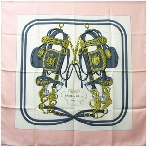 Hermès silk scarf Carre 90 BRIDES de GALA Ceremony white × pink HERMES