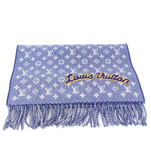Louis vuitton LOUIS VUITTON escharp denim embellished scarf muffler blue wool cashmere mens M71356