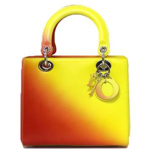 Christian Dior Christian Handbag Chain Shoulder Lady Leather Orange Ladies Men's