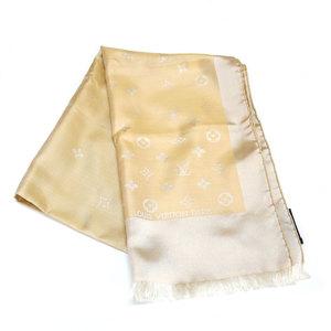 LOUIS VUITTON Louis Vuitton Scarf Monogram Silk Beige Ladies Men's