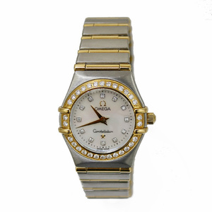 OMEGA Omega SS Watch Stainless Steel K18 Constellation Dial Bezel Diamond 12P Shell Silver Gold Ladies Men