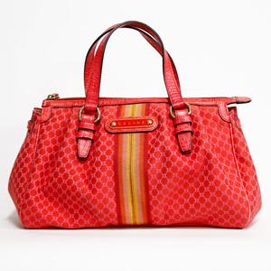 CELINE Shoulder Bag Canvas Macadam Pattern Red Orange Celine Ladies 2505