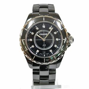 CHANEL Chanel Watch Ceramic J12 Diamond Date Black H1626 Ladies Men