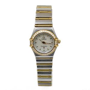 OMEGA Omega SS Watch Stainless Steel K18 Gold Diamond Constellation Bezel Women's Men's