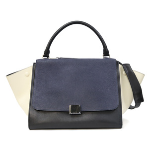 CELINE Trapeze Small Leather Beige Black Navy Shoulder Bag Celine Back Ladies
