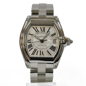 CARTIER Cartier SS Watch Stainless Steel Roadster LM Silver White W6206017 Ladies Men