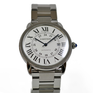 CARTIER Cartier SS Watch Stainless Steel Rondo Solo XL White Silver W6701011 Ladies Men