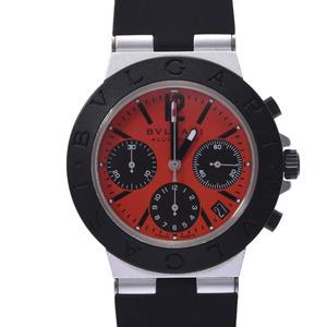 BVLGARI aluminum 38 chronograph AC38TA men's rubber watch self-winding red dial