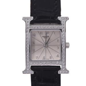 HERMES Hermes Ramsis bezel diamond HH1.230 Ladies SS leather watch quartz silver dial