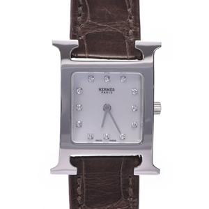 HERMES Hermes Ramsis 12P diamond HH1.210 Ladies SS leather watch quartz shell dial