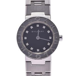 BVLGARI Bvlgari 23 12P Diamond BB23SS Ladies SS Watch Quartz Black Dial