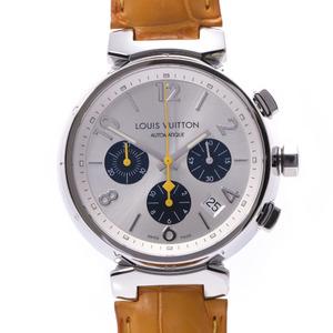 LOUIS VUITTON Louis Vuitton Tambour Chrono Q112E Men's SS Leather Watch Automatic Silver Dial