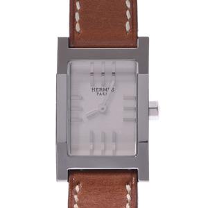HERMES Hermes tandem de Bourtour TA1.210 Ladies SS leather watch quartz silver dial