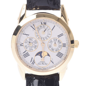 OMEGA Omega Louis Blanc Perpetual Calendar 5341.30.12 Boys YG Leather Watch Automatic winding Silver Dial