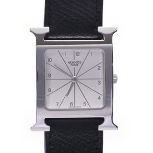 HERMES Hermes H watch HH1.510 Boys SS leather quartz silver dial