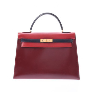 HERMES Hermes Kelly 32 outer stitching tricolor red Bordeaux system navy gold metal fittings ○ O stamp circa 1985 Ladies BOX calf handbag