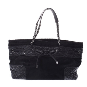 CHANEL Chanel Chain Tote Black Silver Hardware Ladies Harako Leather Bag