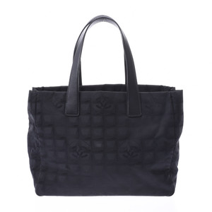 CHANEL New Travel Line Tote MM Black Unisex Nylon Leather Bag