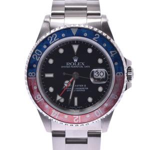 ROLEX Rolex GMT Master 2 Red Blue Bezel Pepsi 16710 Men's SS Watch Automatic winding Black Dial