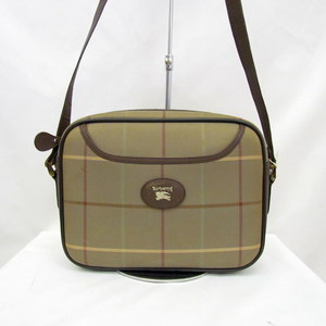 BURBERRYS Burberry Shoulder Bag Check Pattern Khaki Brown Horsemark Logo Sling Crossbody Canvas Leather Ladies 406205 RYB5610