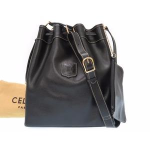 Celine Leather Drawstring Shoulder Bag Black Vintage 0004CELINE