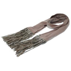 Hermes Fringe Muffler Cashmere Leather Gray 0110HERMES Men's