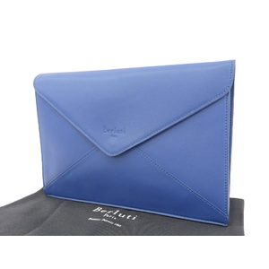 Berluti logo embossed clutch bag leather multi case blue 20190621