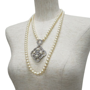 Chanel CHANEL rhinestone coco mark double pearl necklace silver ladies long