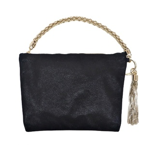 Jimmy Choo CALLIE Shimmer Suede Clutch Bag Black CALLIESHS Ladies Mini Handbag