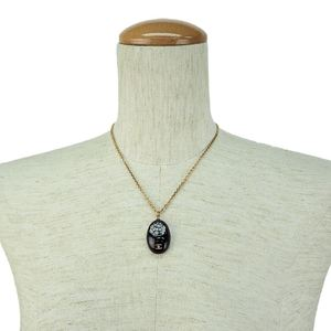 Chanel CHANEL Camellia Necklace Black x Gold Ladies Pendant Flower Accessories