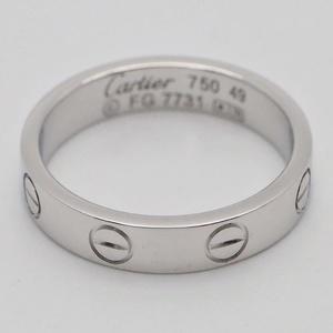 Cartier Mini Love Ring Wedding Band # 49 White Gold B4085100 K18WG No. 9 Ladies