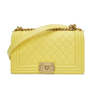 Chanel CHANEL Boy Chain Shoulder Bag Yellow A67086 Ladies 27 Series