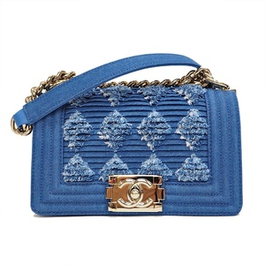 Chanel CHANEL Boy Mini Shoulder Bag Blue Denim Ladies 27 Series