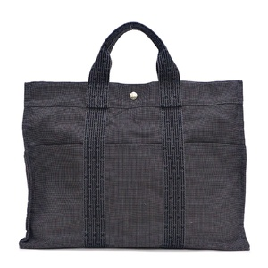 Hermes HERMES Ale Line Tote Bag MM Gray Mens Nylon Canvas Unisex