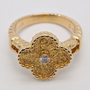 Van Cleef & Arpels Vintage Alhambra Ring Yellow Gold x1P Diamond No. 11 Ladies