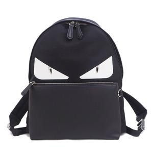 FENDI Monster Bag Bugs Backpack Black x Silver 7VZ042A3DAF0CQT Men's Nylon Leather Rucksack Large Size Unisex