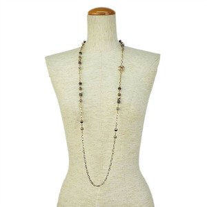 Chanel CHANEL A17C Long Necklace Faux Pearl Gold Metal Ladies Chain
