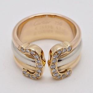Cartier Trinity Diamond Ring LM 2C # 47 Three Gold B4086156 Triple 6th Ladies