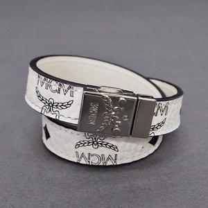 MCM Double Bracelet Visetos White x Black Ladies Leather Wristband