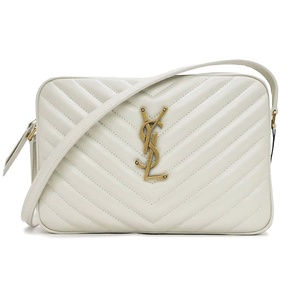 Saint-Laurent Paris SAINT LAURENT Lou Quilted Shoulder Bag White 574494 Chevron Leather Women