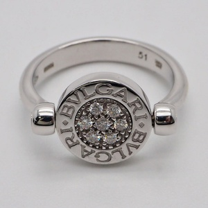 Bvlgari flip ring diamond x onyx white gold ladies 10