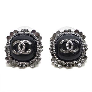 Chanel CHANEL Coco mark earrings silver x black stone ladies square antique style