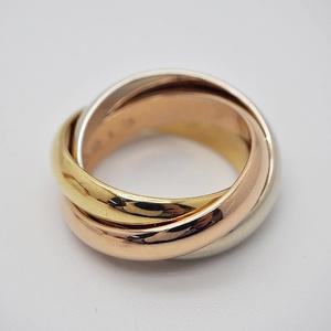 Cartier Trinity Ring # 47 Three Gold 3 Rings No. 7 Ladies No Logo 18K