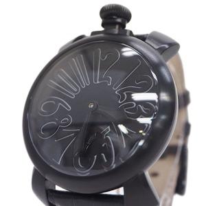 GaGa MILANO 5012.2 Manure 48mm watch Manual winding Men's black x leather belt Life waterproof