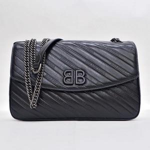 Balenciaga BALENCIAGA BB Chain Round M Shoulder Bag Black 550238AQ4271000 Ladies