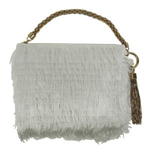 Jimmy Choo CALLIE Satin Fringe Clutch Bag White CALLIETIF Ladies Mini Handbag