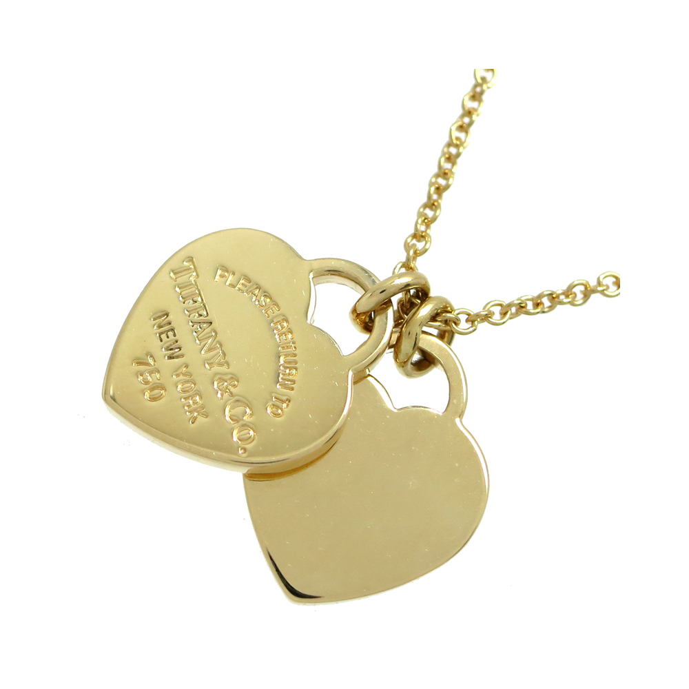 Tiffany Return To Mini Double Heart Tag Pendant Ladies Necklace 750 Yellow Gold Dh56591 Elady Com